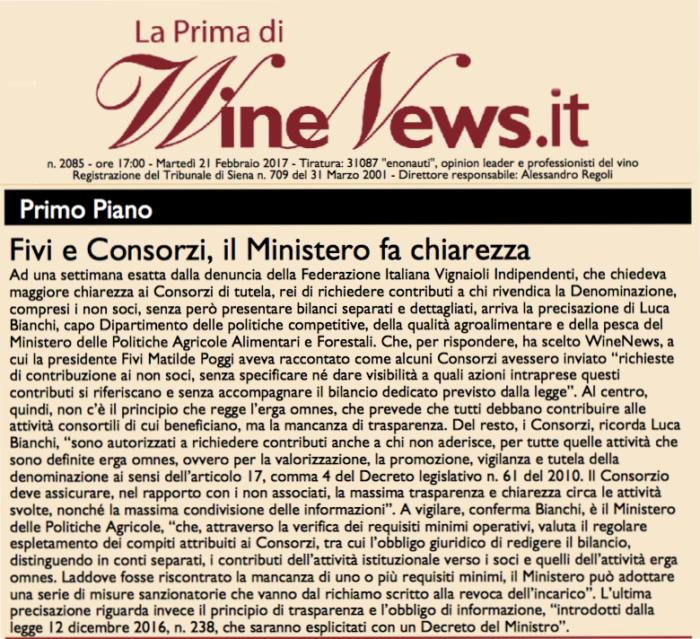 Consorzi ed Erga omnes: la risposta del Ministero alle richieste FIVI su La Prima di Winenews